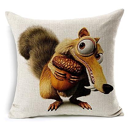 JGArtStore CE Edad Decorativa Funda de Almohada de Dibujos Animados Cojines Lino cojín Cute Animal Caballo