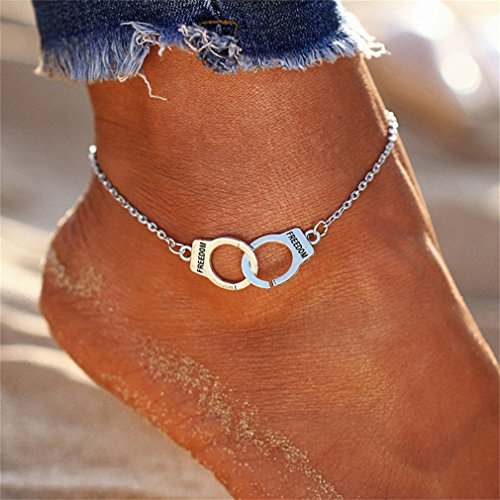 HENGSONG Boho Chain Anklet Beach Charm Anklet Ankle Bracelet Plated Silver Handcuffs