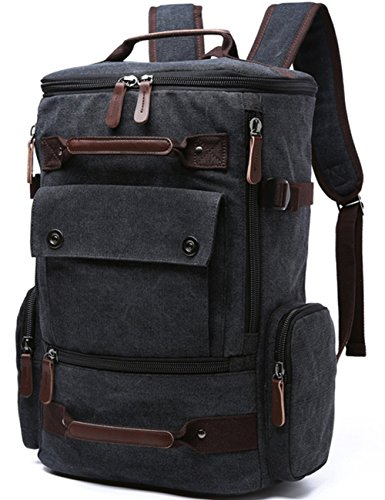 Yousu Canvas Backpack Fashion Travel Backpack School Rucksack Hiking Daypack (Black)