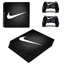 Adventure Games PS4 PRO - Nike, Black Hexagon - Playstation 4 Vinyl Console Skin Decal Sticker + 2 Controller Skins Set