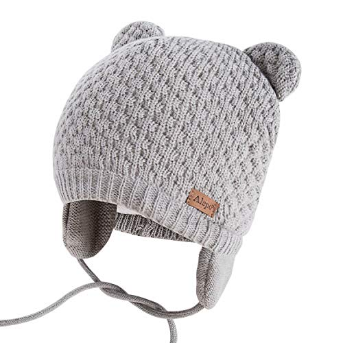 Alepo Winter Beanie Hat for Baby Kids Toddler Infant Newborn, Earflap Cute Warm Fleece Lind Knit Thick Thermal Cozy Chunky Cap for Boys Girls (Gray)