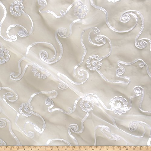 Richland Textiles Embroidered Ribbon Organza White Fabric by The Yard