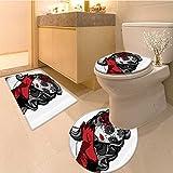 3 Piece Bath mat setSkulCollection and Blooms Catholic Popular Ceremony Celebrating Artistic Vintage Desi Bathroom Rugs Contour Mat Lid Toilet Cover