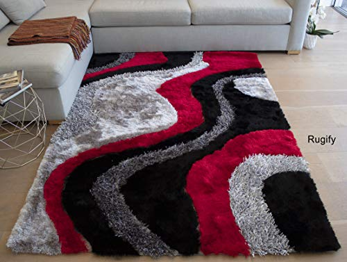 8'x10' Feet Red Black Gray Grey Colors 3D Shaggy Shag Area Rug Carpet Hand Woven Hand Tufted 3-Dimensional Decorative Designer SALE Modern Contemporary Polyester Made Canvas Back Signature New 72 Red ()