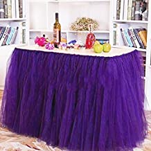 TUTU Table Skirt Tulle Tablecloth – Romantic Net Yarn Table Cover - Wedding Christmas Baby Shower Birthday Parties Decor – Lovin (purple)