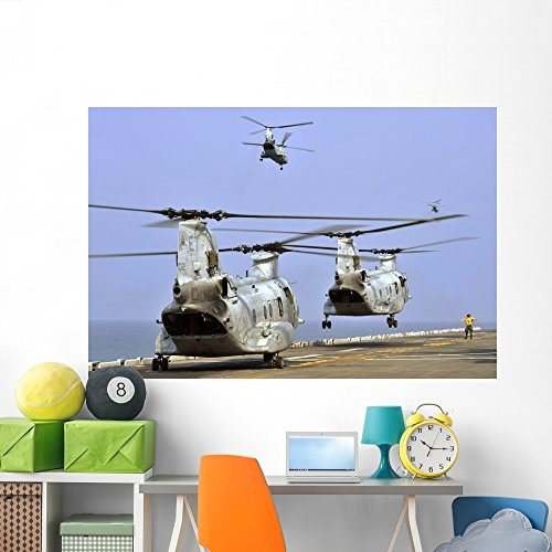 Ch-46e Sea Knight Helicopters Wall Mural by Wallmonkeys Peel and Stick Graphic (72 in W x 48 in H) WM149201