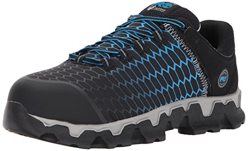 Timberland PRO Men's Powertrain Sport Alloy Toe EH Industrial & Construction Shoe, Black Ripstop Nylon with Blue, 9.5 M US (Best Construction Boots For Men)