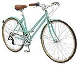 Retrospec Bicycles Kinney 14-Speed Vintage Hybrid Mixte Bicycle, Celeste, 49cm/Medium