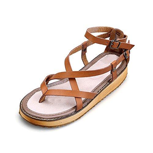 OCHENTA Womens Cutout Strappy Ankle Strap Gladiator Flat Sandal Brown 6tIlL4