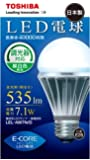 TOSHIBA E-CORE(イー・コア) LED電球(調光器対応・口金直径26mm・一般電球形・白熱電球40W相当・535ルーメン・昼白色相当) LEL-AW7N/D  東芝