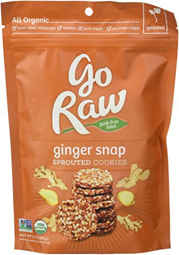 Go Raw Organic Superfood Sprouted Cookie Crisps, Ginger Snaps (pack of 6 bags) (Ginger Crisp)