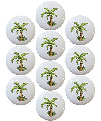 Palm Tree with Grass Ceramic Cabinet Drawer Knob (Set of 10 Knobs) ()