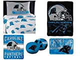 """Northwest NFL Carolina Panthers """"Monument"""" Twin Sheet Set with 1 Blanket, 1 Throw, 1 Rug, and 2 Cloud Pillows"""