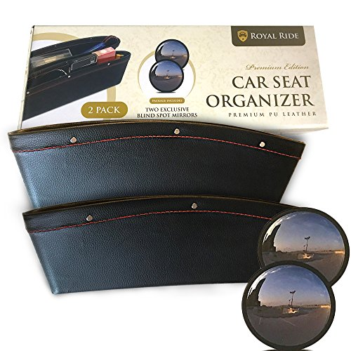 Car Seat Side Organizer with 2 Pockets 2 Pack Premium PU Leather 2 FREE Blind Spot Mirrors Best Side Caddy Gap Filler and Catcher Fits to All Car Models | Keep Your Car Clean | Easy to Install | Black