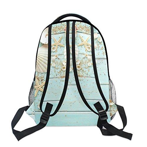 ZZKKO Beach Ocean Theme Starfish Seashell Wooden Style Boys Girls School Computer Backpacks Book Bag Travel Hiking Camping Daypack
