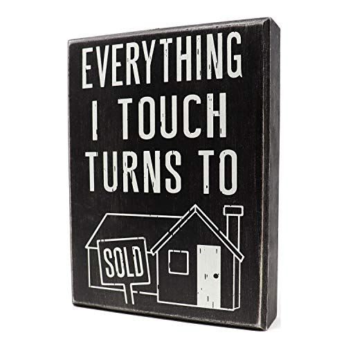JennyGems - Everything I Touch Turns to Sold - Real Estate Agent Sign - Broker Office Decor, Real Estate Agent Gift, Shelf Knick Knacks