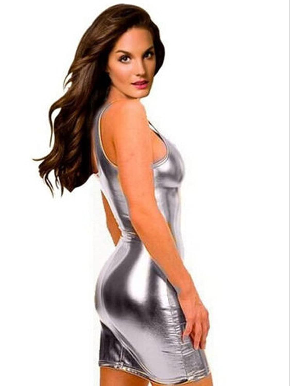 Bingirl Gothic Hot Sleeveless Dress Metallic Wetlook Clubwear Stripper