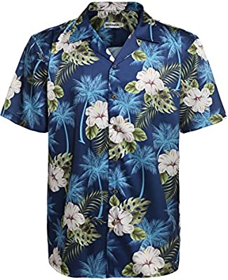 Mens Short Sleeve Hawaiian Aloha Shirt Button Down Floral Pineapple Print Shirts