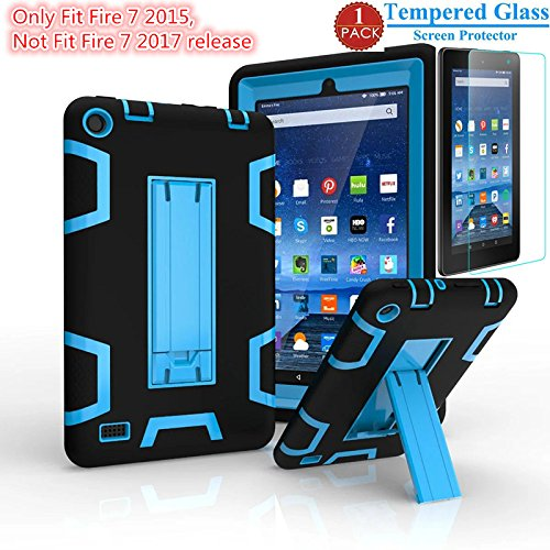 Fire 7 2015 Case With Screen Protector , I-VIKKLY  Heavy