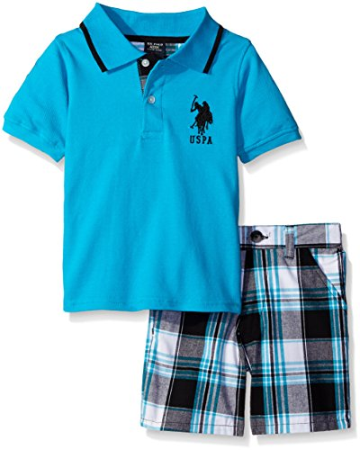 U.S. Polo Assn. Boys' Little 2 Piece Big Pony Solid Pique Polo Shirt and Plaid Short, Neon Turquoise, 4