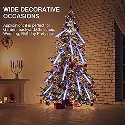 Ayunhao Meteor Shower Rain Lights Waterproof String for Wedding Party Christmas Xmas Decoration Tree Party Garden String Light Outdoor 11.8 inch 8 Tube 192 led Lamp Beads (White) : Garden & Outdoor