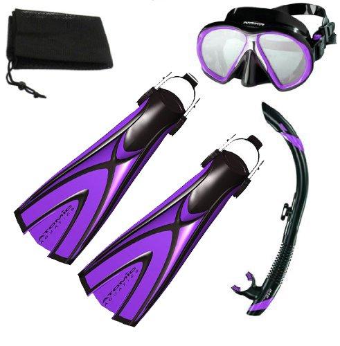 - Atomic X1 Blade Fins, SubFrame Mask, SV2 Snorkel, Women's Snorkel Set - SMALL Size / PURPLE