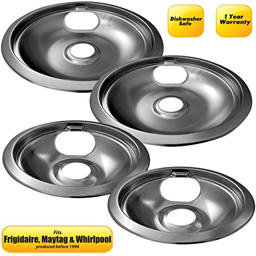 8' Chrome Drip Bowl Ring (6'' / 8'' Frigidaire / Whirlpool 1-Piece Pan & Ring Shallow Bowl 4 Pack, Chrome)