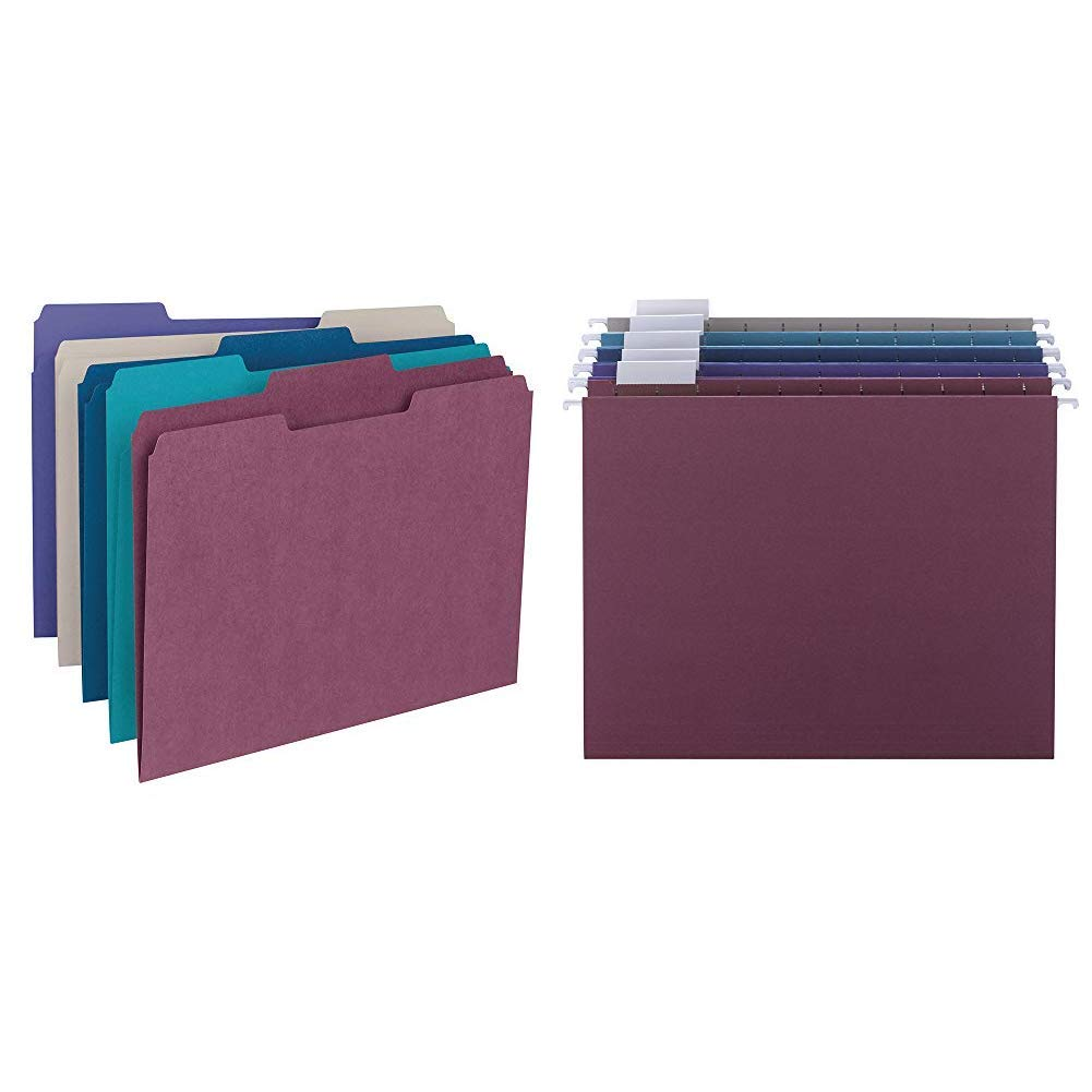 Smead File Folder, 1/3-Cut Tab, Letter Size, Assorted Colors, 100 per Box, (11948) &  Hanging File Folder with Tab, 1/5-Cut Adjustable Tab, Letter Size, Assorted Jewel Tone Colors, 25 per Box (64056) by Smead