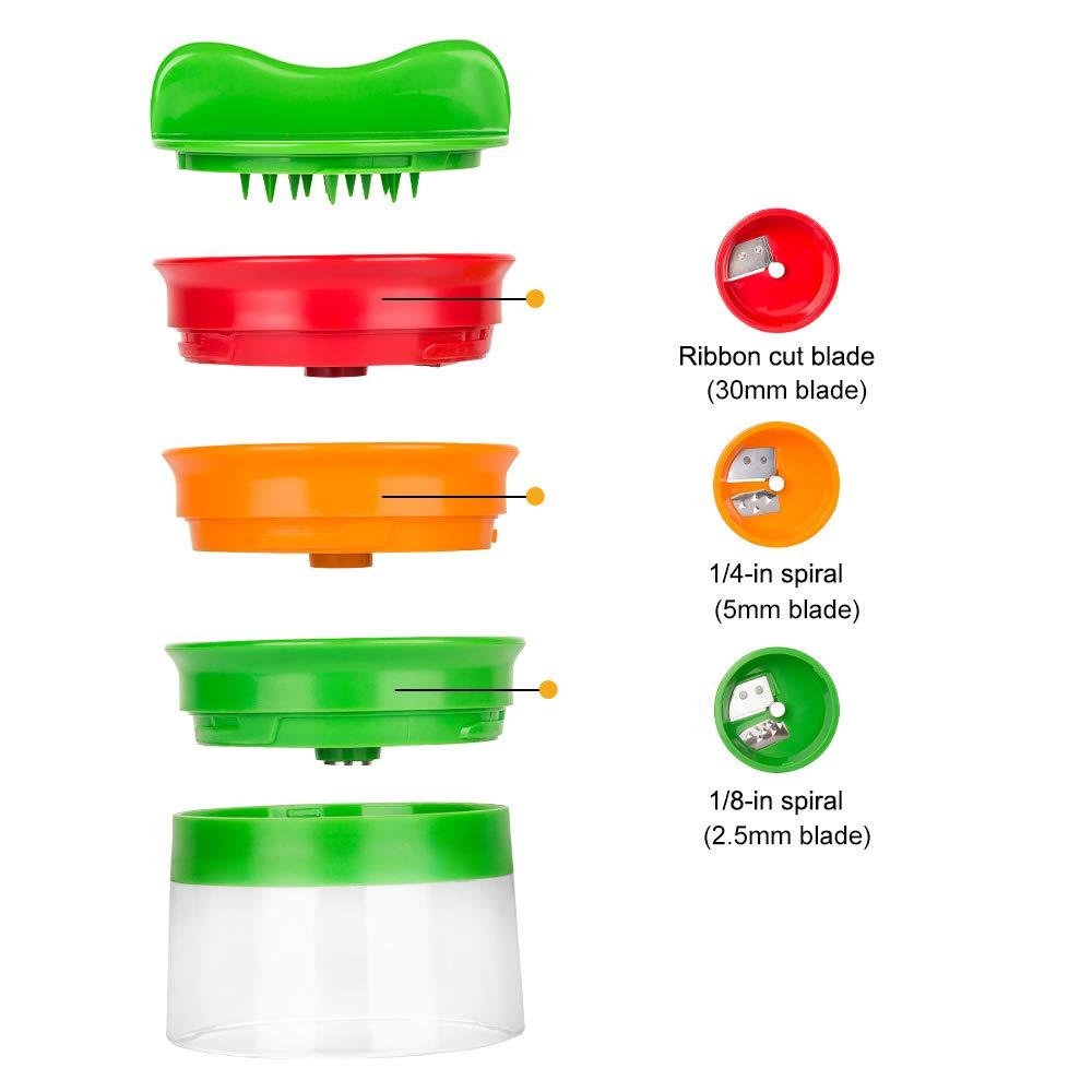 Linkax Cortador de Verduras Cortador en espiral Rallador de Verduras Mano con 3 Cuchillas para Cortador de Pepinos Rallador de Zanahorias Rallador de Espiral