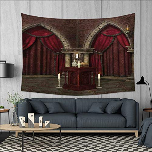 smallbeefly Gothic Tapestry Wall Tapestry Mysterious Dark Room in Castle Ancient Pillars Candles Spiritual Atmosphere Pattern Art Wall Decor 60