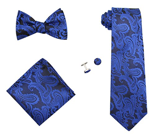 Gift Set – Paisley Woven Necktie, Pocket Square, Bowtie & Cufflinks (Royal Blue) ()