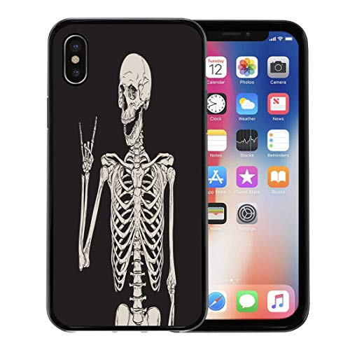 Semtomn Phone Case for Apple iPhone Xs case,Rock Human Skeleton Posing Over Skull Dead Halloween Zombie Sketch for iPhone X Case,Rubber Border Protective Case,Black ()