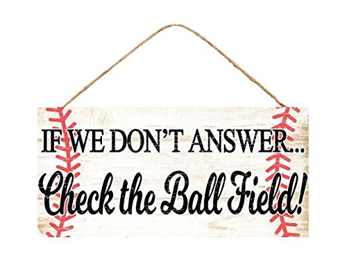 Craig Bachman Check the Ball Field Wooden Sign Baseball (12.5 Inches x 6 -