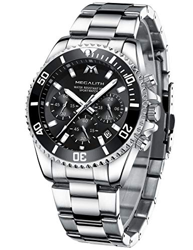 MEGALITH Mens Watches Stainless Steel Waterproof Watch Chronograph Wrist Watches for Men Analog Quartz Date Calendar Business Casual Fashion Gents Watches