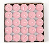 HorBous 50 Per Box - 1.5-2 Hours Burning Time Quality Unscented Tea Lights Candles (Red, purple, white, pink) (pink)
