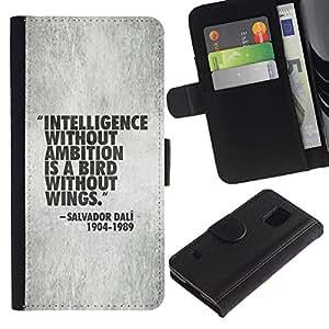LASTONE PHONE CASE / Lujo Billetera de Cuero Caso del tirón Titular de la tarjeta Flip Carcasa Funda para Samsung Galaxy S5 V SM-G900 / intelligence quote motivational work