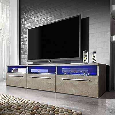 Lavello - Mueble TV / Mesa para TV (150cm, Cemento con iluminación ...