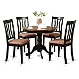 Circular Dining Table East West Furniture ANTI5-BLK-C 5-Piece Kitchen Table Set, Black/Cherry Finish