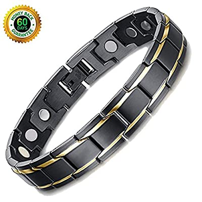 Deluxy Titanium Magnetic Bracelet Therapy High Power Magnets for Men Women Balance Arthritis Relief Pain Carpal Tunnel+ Hematite Pendant Necklace