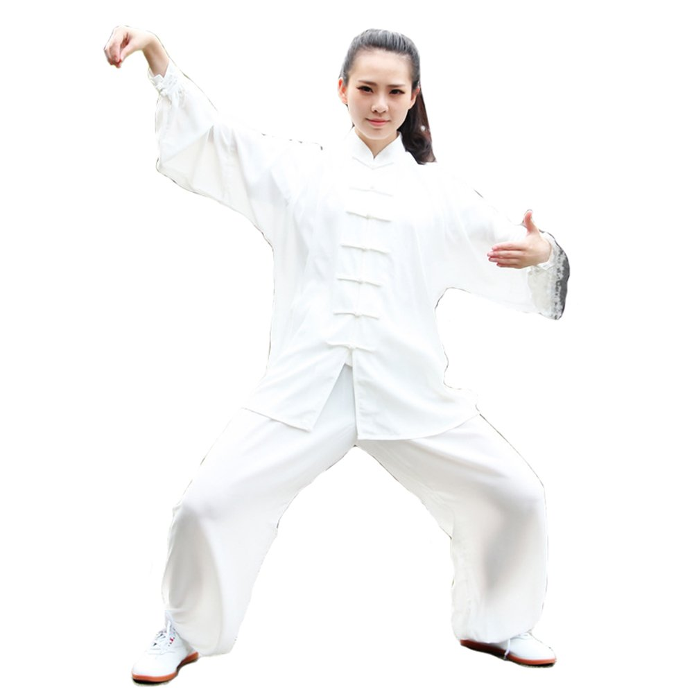 Itopfox Unisex Cotton Blend Kung Fu Tai Chi Uniform Martial Arts Wear White L by Itopfox