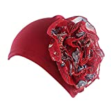 TWGONE Womens Head Wraps Flower Chemo Hat Beanie Scarf Turban (One Size,Red)