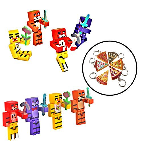 Pixelated Five Nights at Freddys Pixelated Figures 4-Pack with Keychain (Minecraft Costumes Kids)