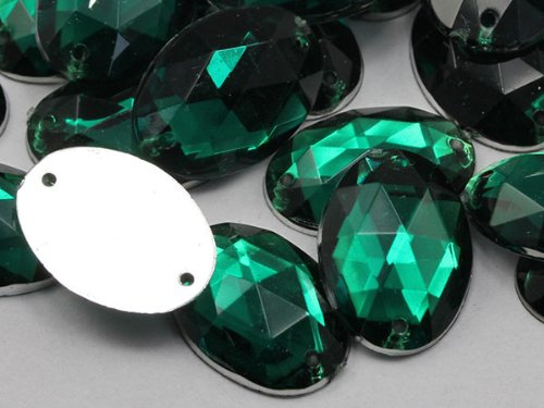 18x13mm Emerald CH18 Oval Flat Back Sew On Beads for Crafts - 50 Pieces