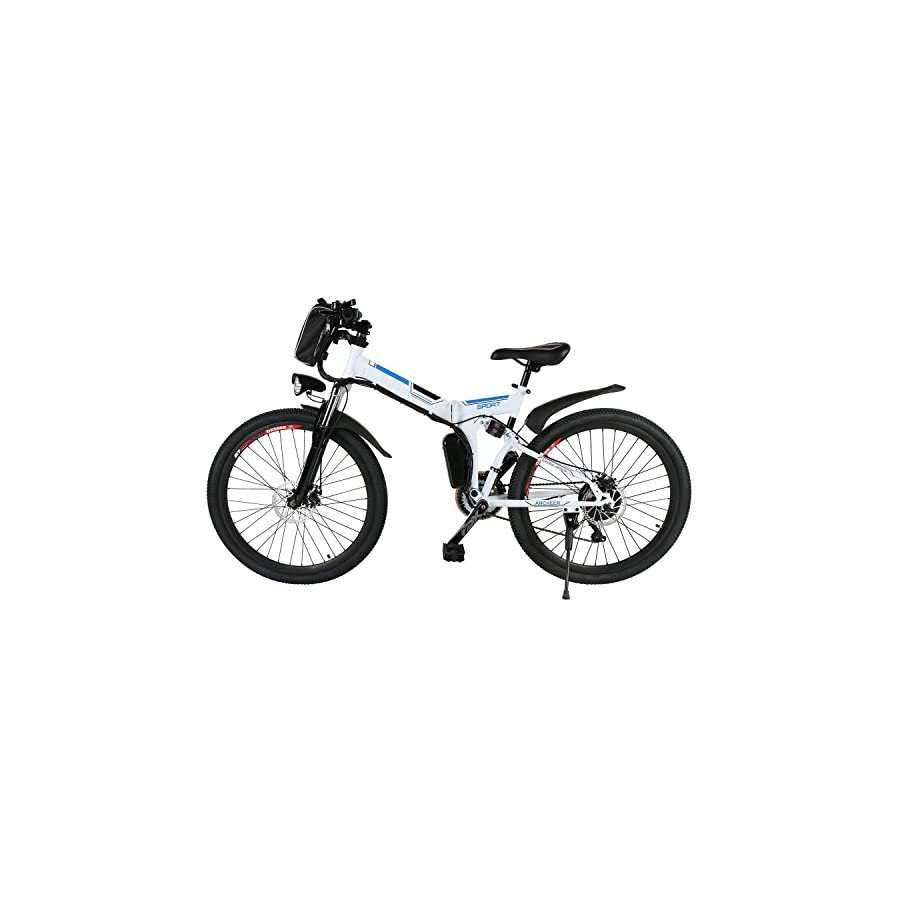 Hindom Folding Electric Mountain Bike,26 Inch Wheel, Full Suspension With Shimano Gear,Removable Lithium Ion Battery (US STOCK)