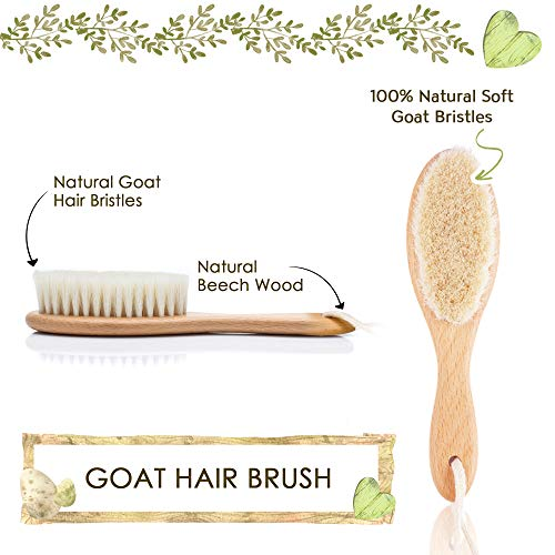 Baby Hair Brush for Newborn - Natural Wooden Baby Hairbrush Comb with Soft Goat Bristles for Cradle Cap - Perfect Scalp Grooming Hairbrush Comb Kit for Infant, Toddler, Kids - Baby Registry Gift