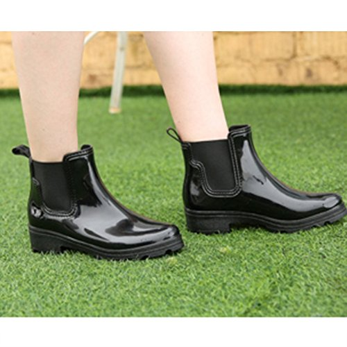 Women's rain boots sexy Rain Boots Female Adult Short Summer Boots Outdoor Short High-heeled Shoes Fashion Plastic Water Shoes (Color : Red, Size : EU37/UK4.5-5/CN37) Black