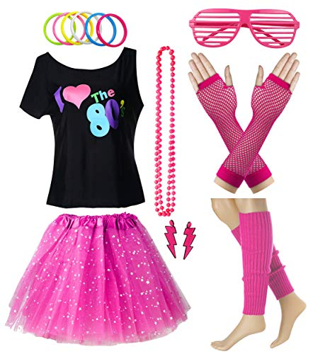 Women I Love The 80's T-Shirt with Star Sequin Tutu Skirt Plus Size Costume Outfit Accessory (L/XL, Hot Pink) ()