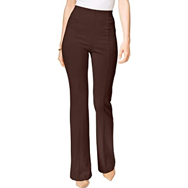 2ea1da833 Amazon.com: INC Womens High Waist Boot Leg Dress Pants Brown 16 ...