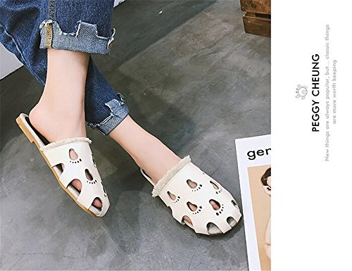 Comfortable Quality Shoes Newest pit4tk Low High Pointy Beige Leather Mules Slippers Heel Sexy Pf558AqFw