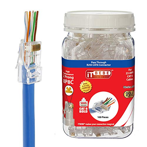 ITBEBE Gold Plated RJ45 CAT6 Bold 100 Pieces End Pass Through Connector for 23 AWG Cables